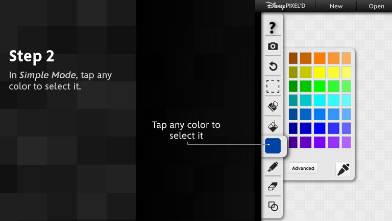 In Simple mode, tap any color to select it.