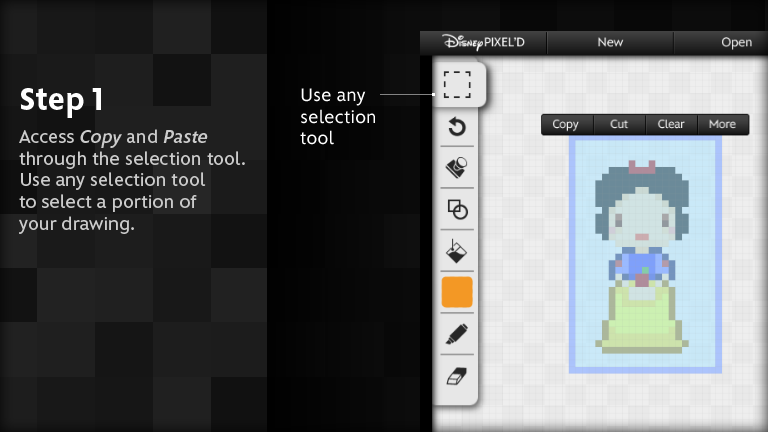 Access copy and paste through the selection tool.  Use any selection tool to select a portion of your drawing.