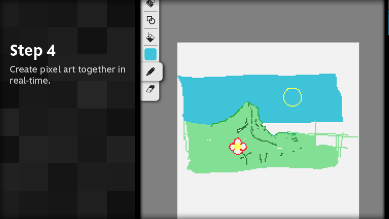 Create pixel art together in real-time.
