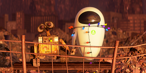 wall-e and eve on bench
